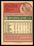 1975 O-Pee-Chee #457  Mario Mendoza  Back Thumbnail