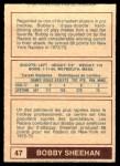 1977 O-Pee-Chee WHA #47  Bobby Sheehan  Back Thumbnail