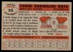 1956 Topps #55  Tobin Rote  Back Thumbnail
