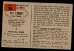 1954 Bowman #30  Joe Arenas  Back Thumbnail