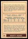 1977 O-Pee-Chee WHA #65  Marty Howe  Back Thumbnail