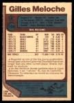 1977 O-Pee-Chee #109  Gilles Meloche  Back Thumbnail