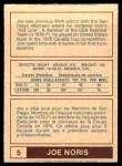 1977 O-Pee-Chee WHA #5  Joe Noris  Back Thumbnail