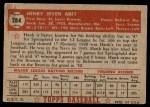 1952 Topps #284  Hank Arft  Back Thumbnail