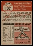 1953 Topps #137  John Rutherford  Back Thumbnail