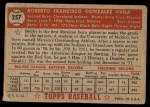1952 Topps #257  Bobby Avila  Back Thumbnail