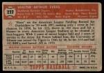 1952 Topps #222  Hoot Evers  Back Thumbnail