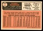 1966 Topps #490  Bobby Richardson  Back Thumbnail