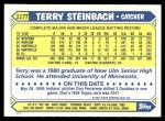 1987 Topps Traded #117 T Terry Steinbach  Back Thumbnail