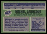 1976 Topps #79  Michel Larocque  Back Thumbnail