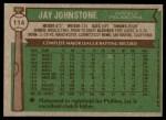 1976 Topps #114  Jay Johnstone  Back Thumbnail
