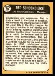 1968 Topps #294  Red Schoendienst  Back Thumbnail
