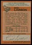 1978 Topps #226  Reed Larson  Back Thumbnail