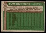 1976 Topps #126  Tom Dettore  Back Thumbnail