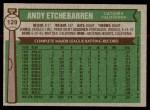 1976 Topps #129  Andy Etchebarren  Back Thumbnail