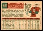 1959 Topps #401  Ron Blackburn  Back Thumbnail