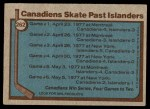 1977 Topps #262   Stanley Cup Semi-Finals - Canadiens Skate Past Islanders Back Thumbnail