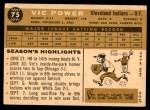 1960 Topps #75  Vic Power  Back Thumbnail