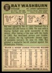 1967 Topps #92  Ray Washburn  Back Thumbnail