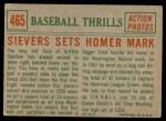 1959 Topps #465   -  Roy Sievers Sets Homer Mark Back Thumbnail
