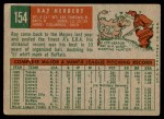 1959 Topps #154  Ray Herbert  Back Thumbnail