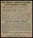 1952 Red Man #11 AL Jim Hegan  Back Thumbnail