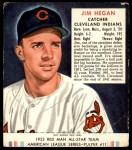 1952 Red Man #11 AL Jim Hegan  Front Thumbnail