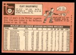 1969 Topps #151 BAL Clay Dalrymple   Back Thumbnail