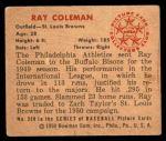1950 Bowman #250  Ray Coleman  Back Thumbnail