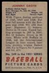 1951 Bowman #249  Johnny Groth  Back Thumbnail