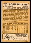 1968 Topps #161  Norm Miller  Back Thumbnail