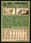 1967 Topps #515  Bert Campaneris  Back Thumbnail