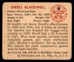 1950 Bowman #63  Ewell Blackwell  Back Thumbnail
