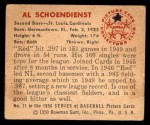 1950 Bowman #71  Red Schoendienst  Back Thumbnail