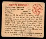1950 Bowman #175  Monte Kennedy  Back Thumbnail