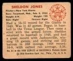 1950 Bowman #83  Sheldon Jones  Back Thumbnail