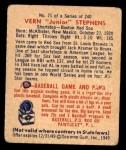 1949 Bowman #71  Vern Stephens  Back Thumbnail
