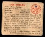 1950 Bowman #44  Joe Dobson  Back Thumbnail