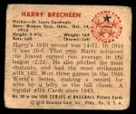 1950 Bowman #90  Harry Brecheen  Back Thumbnail