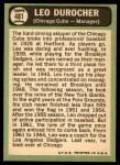 1967 Topps #481  Leo Durocher  Back Thumbnail