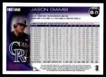 2010 Topps Update #71  Jason Giambi  Back Thumbnail