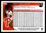 2010 Topps Update #100  Roy Halladay  Back Thumbnail