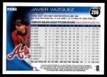 2010 Topps #286  Javier Vazquez  Back Thumbnail