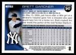 2010 Topps #547  Brett Gardner  Back Thumbnail