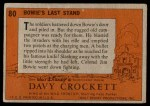 1956 Topps Davy Crockett #80   Bowie's Last Stand  Back Thumbnail