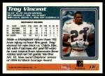 1995 Topps #131  Troy Vincent  Back Thumbnail