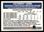 1995 Topps #434  Anthony Cook  Back Thumbnail