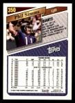1993 Topps #350  Phil Simms  Back Thumbnail
