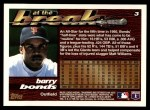 1995 Topps Traded #3 T Barry Bonds  Back Thumbnail