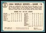 1965 Topps #137   -  Jim Bouton 1964 World Series - Game #6 - Bouton Wins Again Back Thumbnail